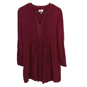 Old navy pleated dress women's size L burgundy